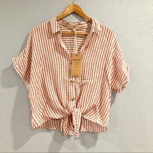 Thread + Supply | Striped Linen Tie Off Top